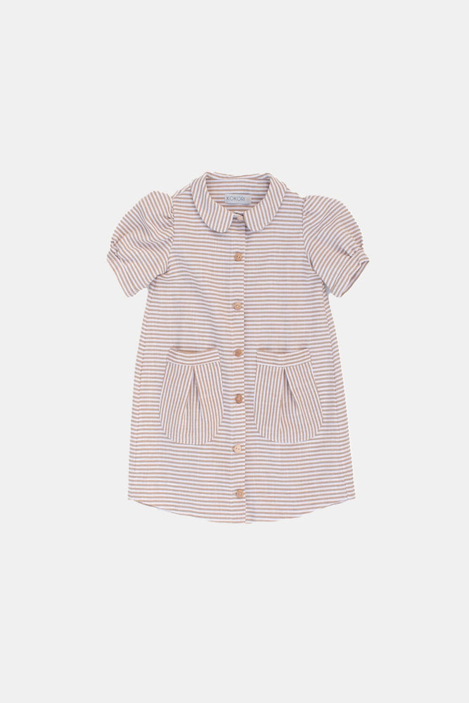 Beige Striped Dress - Cherry