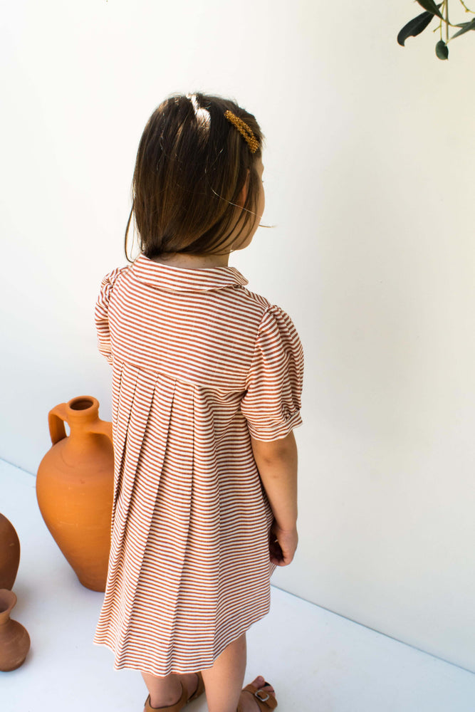 Terracotta Striped  Cotton Dress - Cherry