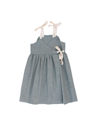Olive Green Linen Dress - Apron