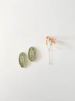 Hair clips, Green Oval