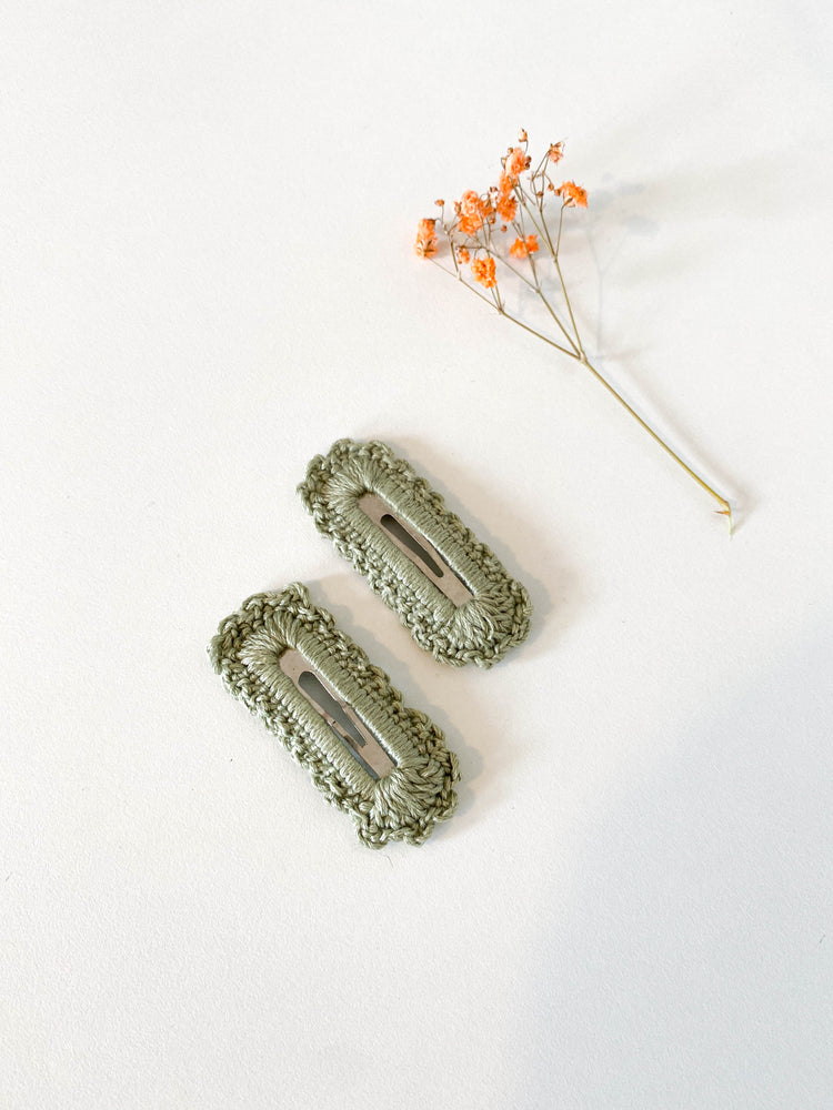 Hair Clips, Green Square