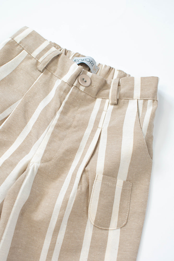 Beige Striped Trousers - Indie