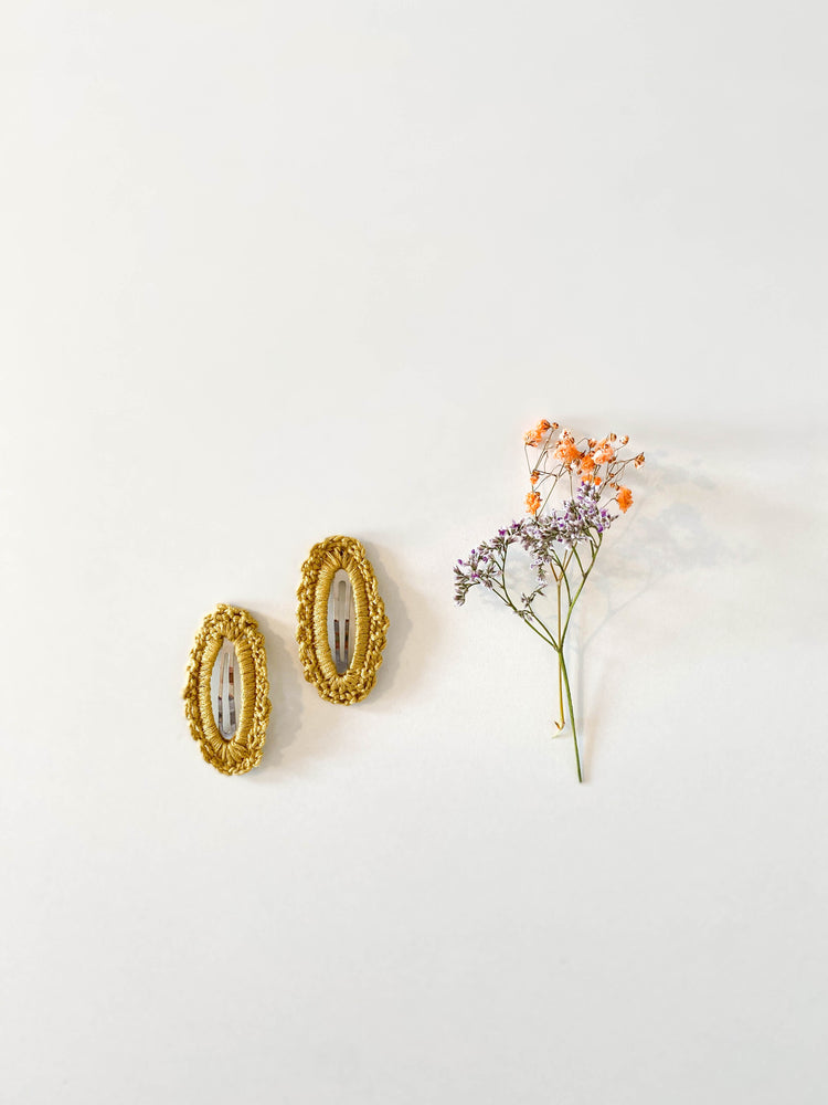 Hair Clips, Mustard Oval