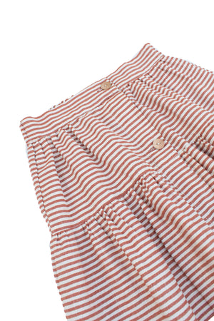 Striped Terracotta Cotton Skirt - Olivia
