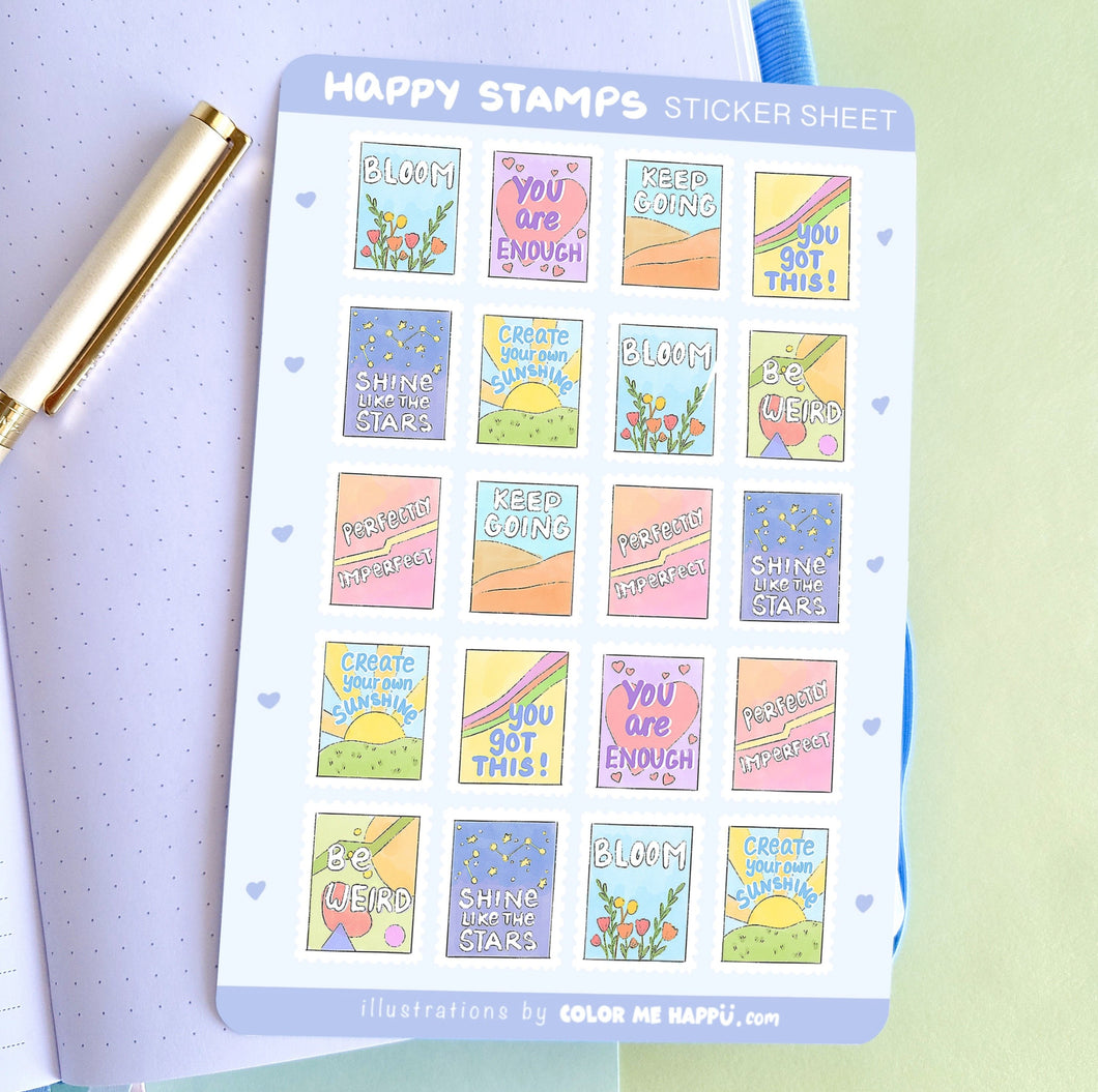 Happy Stamps Sticker Sheet