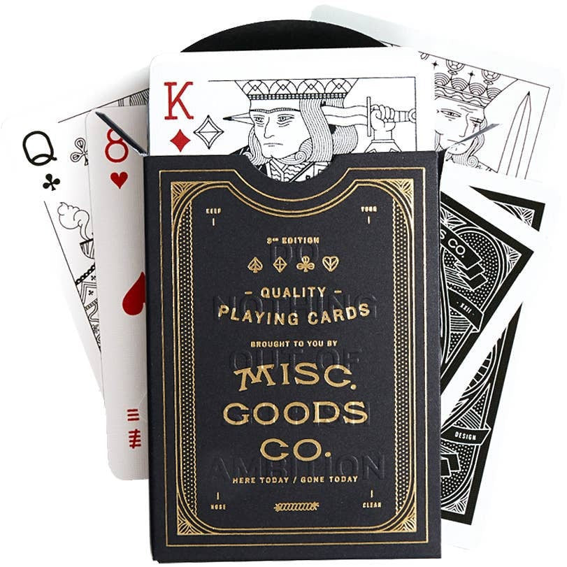 Custom Illustrated Black + Gold Playing Cards