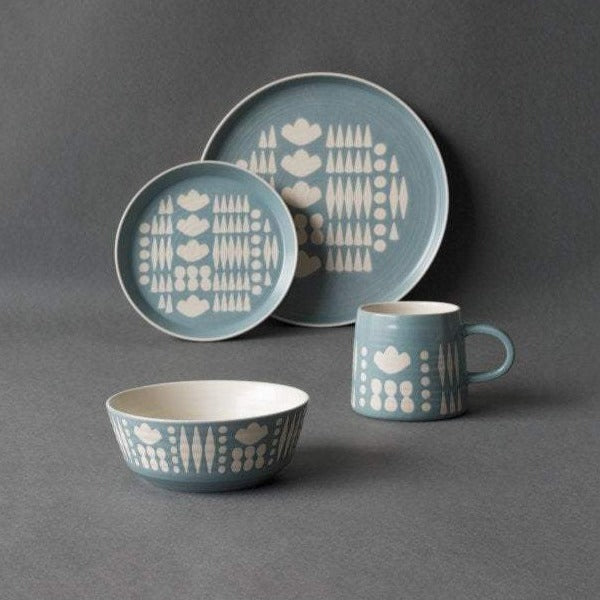 Blue and White Collage Mug and Plate Set