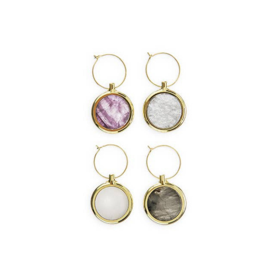 Garden Party Agate Wine Charm Set