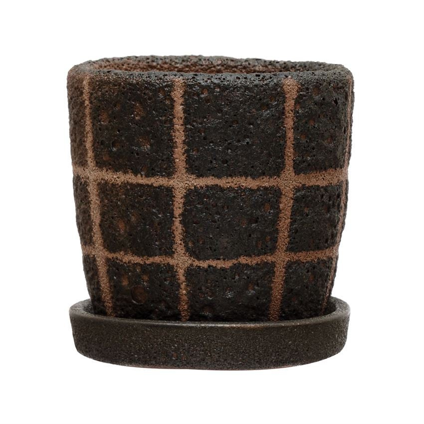 Black Grid Planter with Saucer