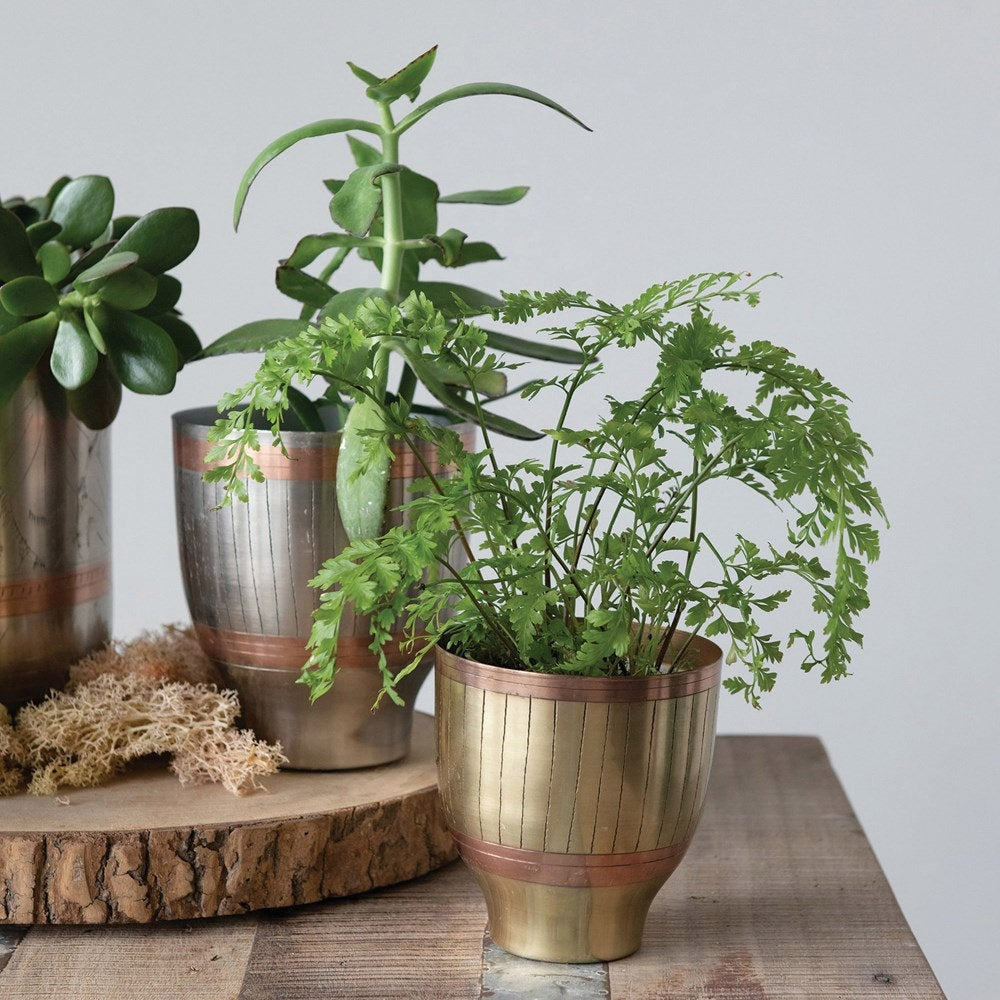 Engraved Metal Planters
