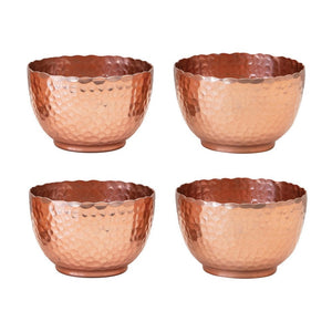 Round Hammered Copper Metal Bowls (set of 4)