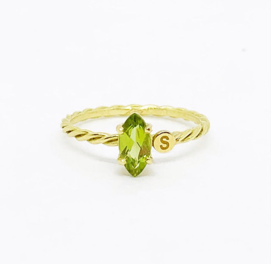 Twisted Marquise Initial Ring
