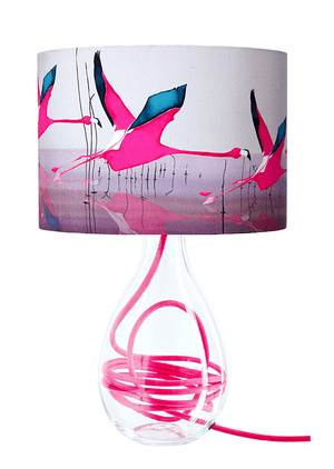 Pink flamingo lamp shade on glass lamp base with raspberry pink flex by Anna Jacobs