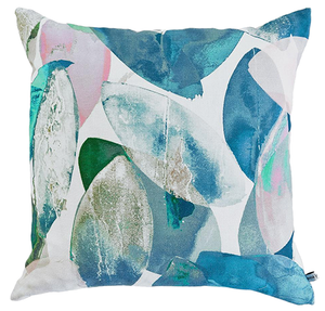Abstract designer cushion in blue and green - Falling Leaves in Winter - by Anna Jacobs