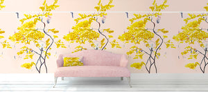 Chinese Tree in Blush wallpaper by Anna Jacobs behind pink sofa