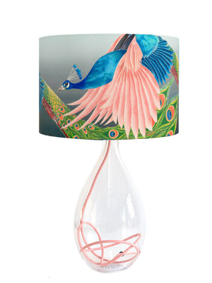 Peacock lamp shade on glass lamp base with rose flex by Anna Jacobs