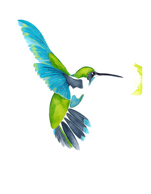 hummingbird in blue and green print - Sipping Nectar by Anna Jacobs