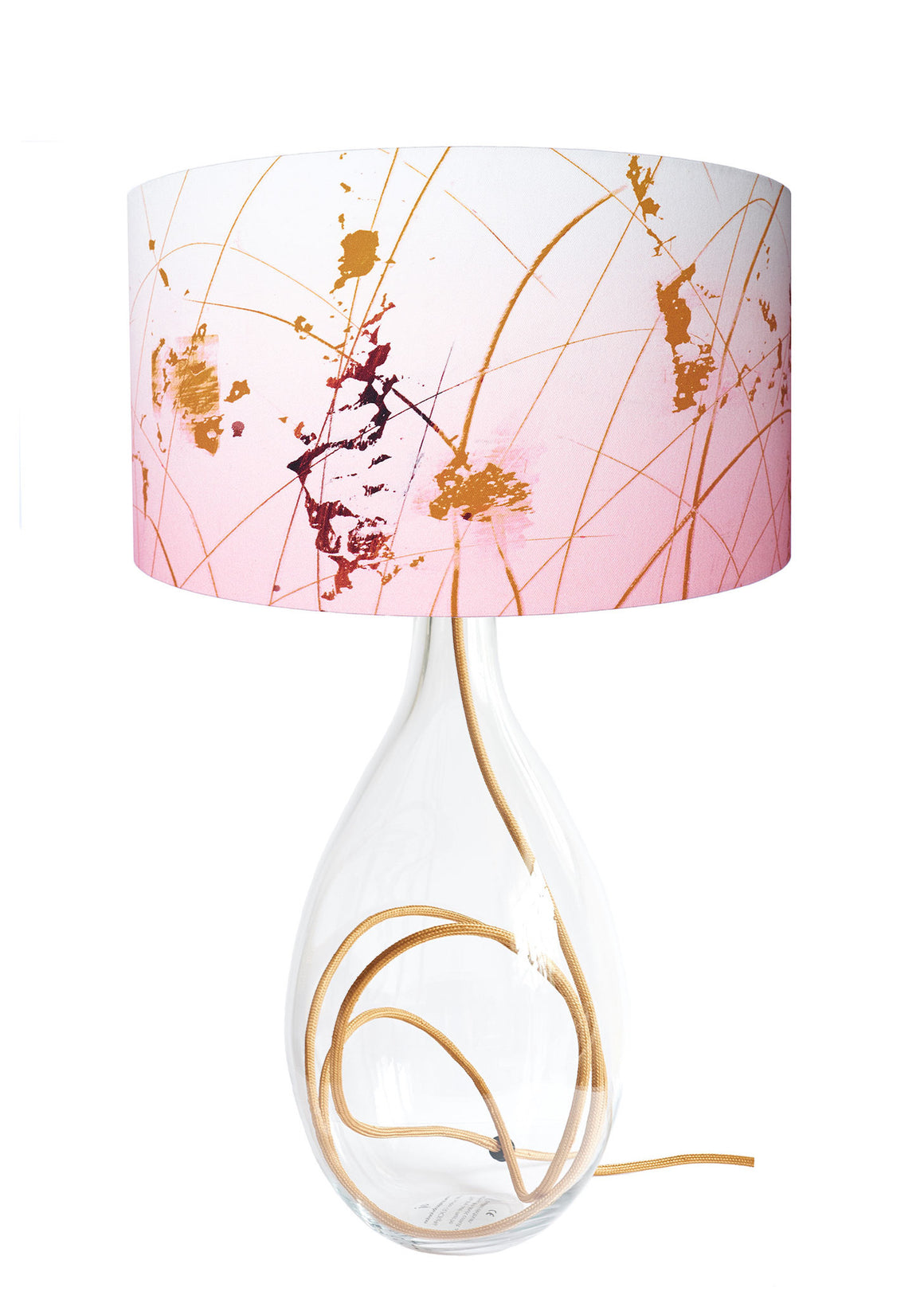 contemporary table lamp designed by Anna Jacobs - Table lamps collection - Afternoon Dreaming lampshade on gold flex crystal glass lamp base