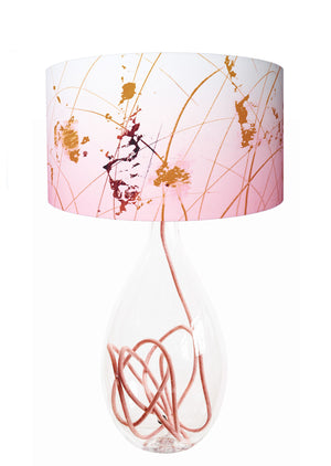 contemporary table lamp designed by Anna Jacobs - Afternoon Dreaming lampshade on rose flex crystal glass lamp base