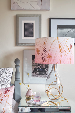 contemporary table lamp designed by Anna Jacobs - Afternoon Dreaming lampshade on gold flex crystal glass lamp base