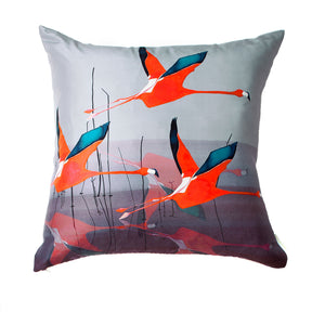 Breaking Dawn in Orange flamingo<br />square silk cushion