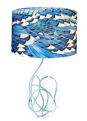 Blue Jay Wing Glass lamp base with Jade flex, designed by Anna Jacobs