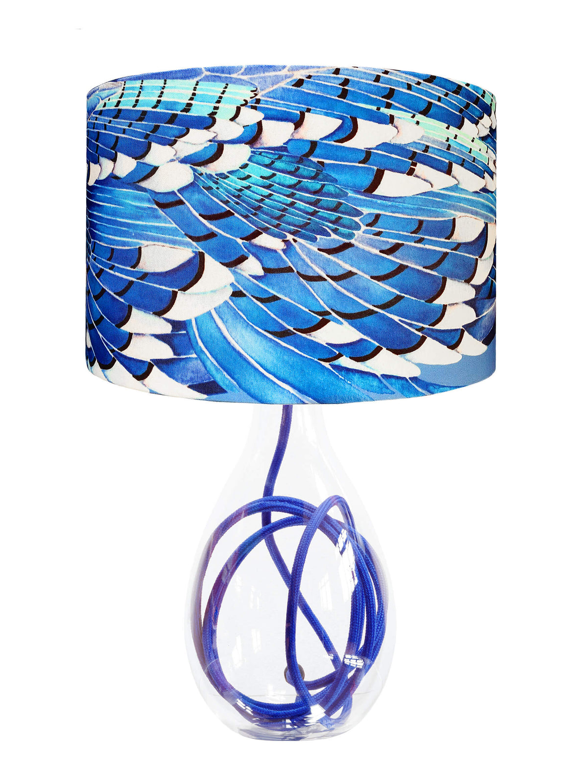 Blue Jay Wing lamp on Royal Blue flex by Anna Jacobs - medium size