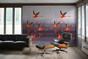 Breaking Dawn in Orange mural wallpaper by Anna Jacobs, lifestyle image in mid century modern apartrment