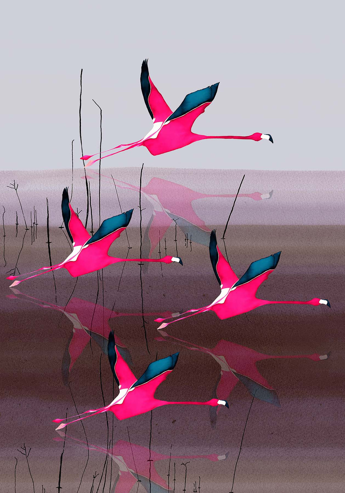 Breaking Dawn in Pink mural artwork by Anna Jacobs