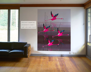 Breaking Dawn in Pink mural wallpaper by Anna Jacobs cropped as a super scale artwork in a mid century modern apartment