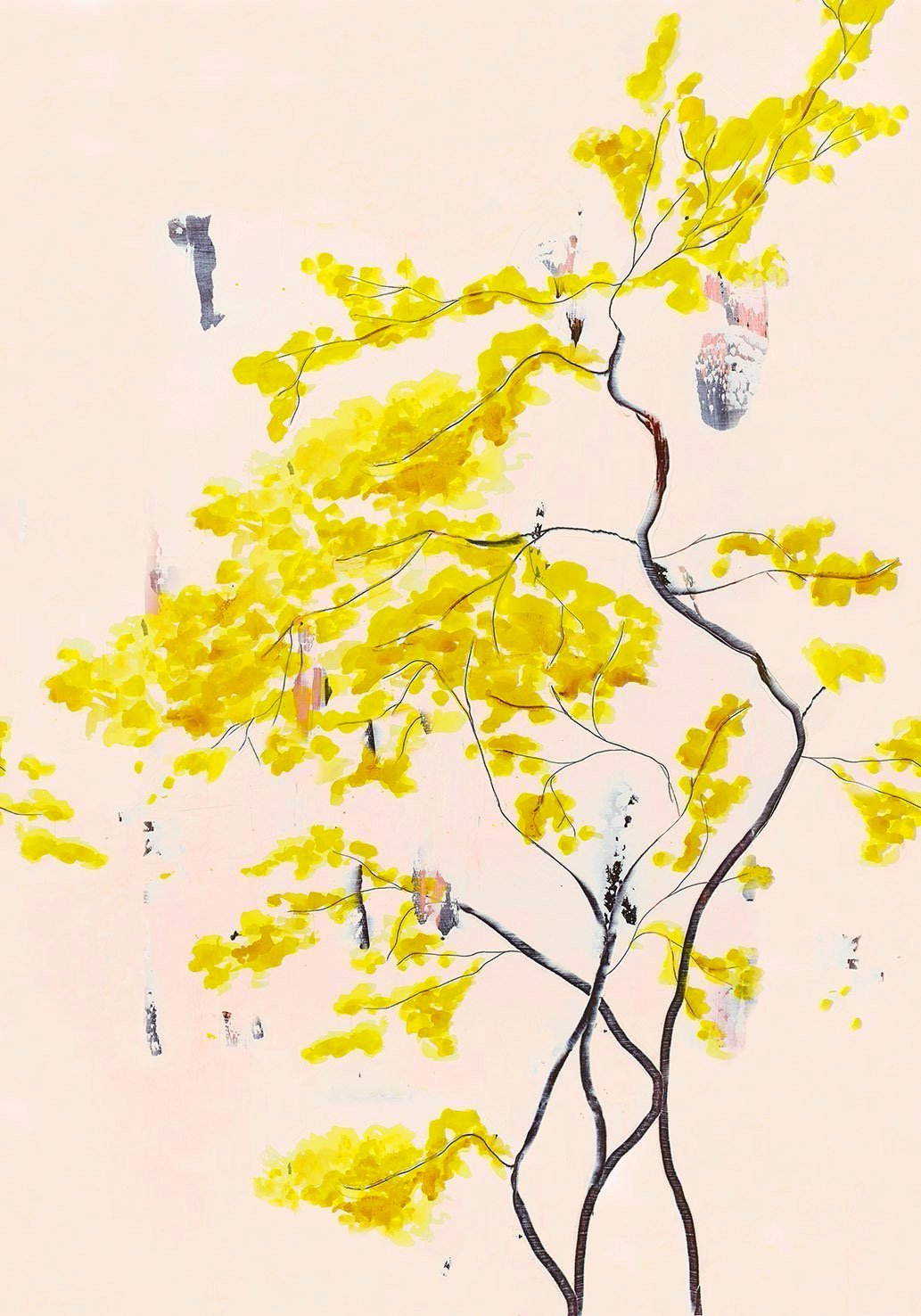 Chinese Tree in Blush mural wallpaper by Anna Jacobs - artwork
