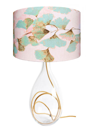 Ginkgo in Jade glass lamp with Gold flex, designed by Anna Jacobs