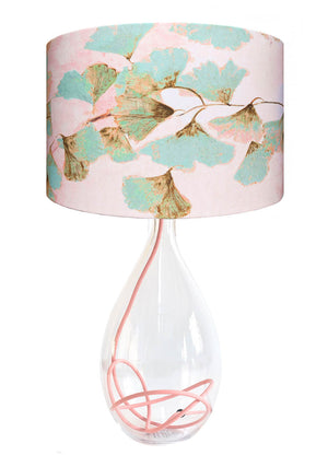 Ginkgo in Jade glass lamp with Rose flex, designed by Anna Jacobs