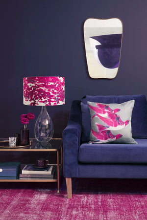 Chinese Tree in Pink and Violet lamp on Royal Blue flex by Anna Jacobs - lifestyle