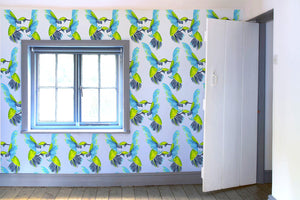 Sipping Nectar wallpaper by Anna Jacobs in cottage with window