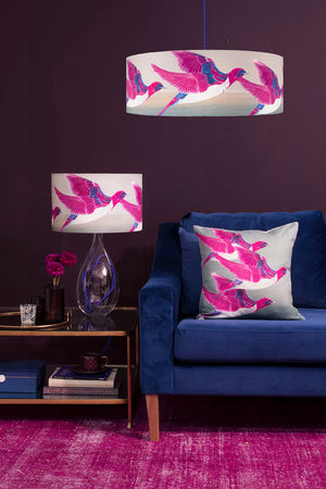 Starling lamp on royal blue flex, Violet Backed Starling lamp, cushion and extra large shade by Anna Jacobs - lifestyle