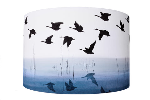 Welsh Reflection in Indigo<br />cotton lampshade