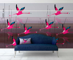 Breaking Dawn in Pink mural wallpaper by Anna Jacobs, hung in repeat with a picture rail