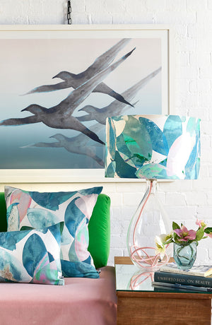 Falling Leaves in Winter large lamp on Rose flex, with Falling leaves in Winter cushions and Breathe print by Anna Jacobs - lifestyle