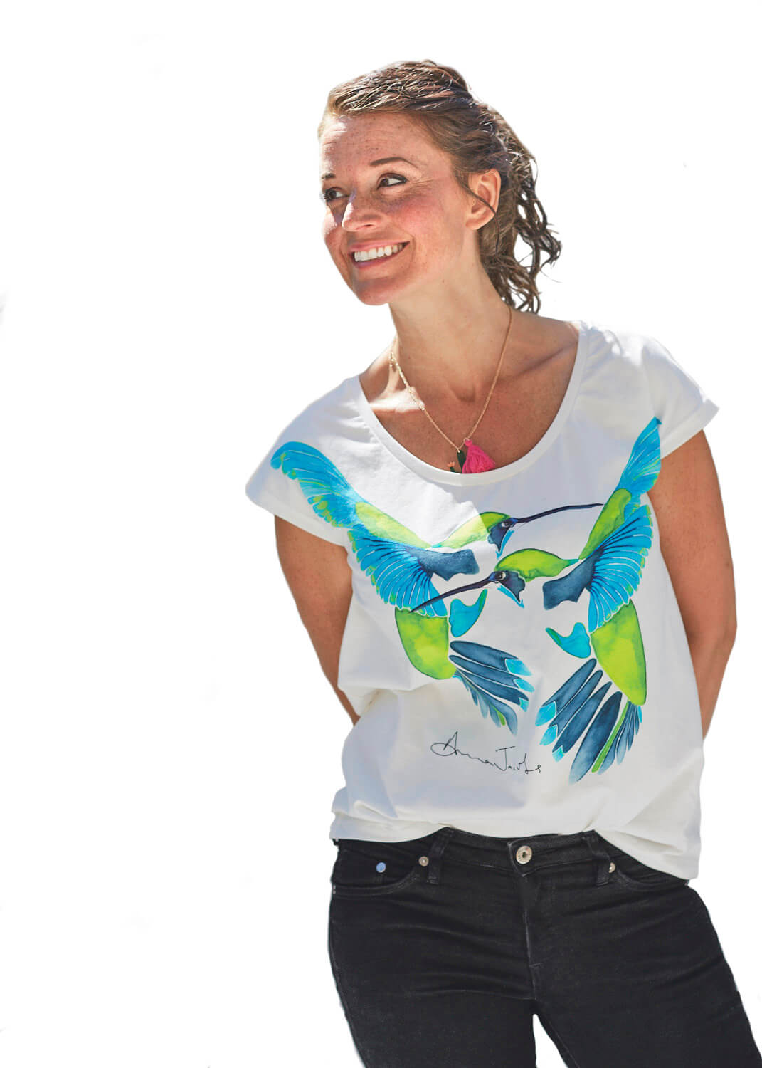 Hummingbird T-Shirt in Turquoise<Br>LIMITED EDITION
