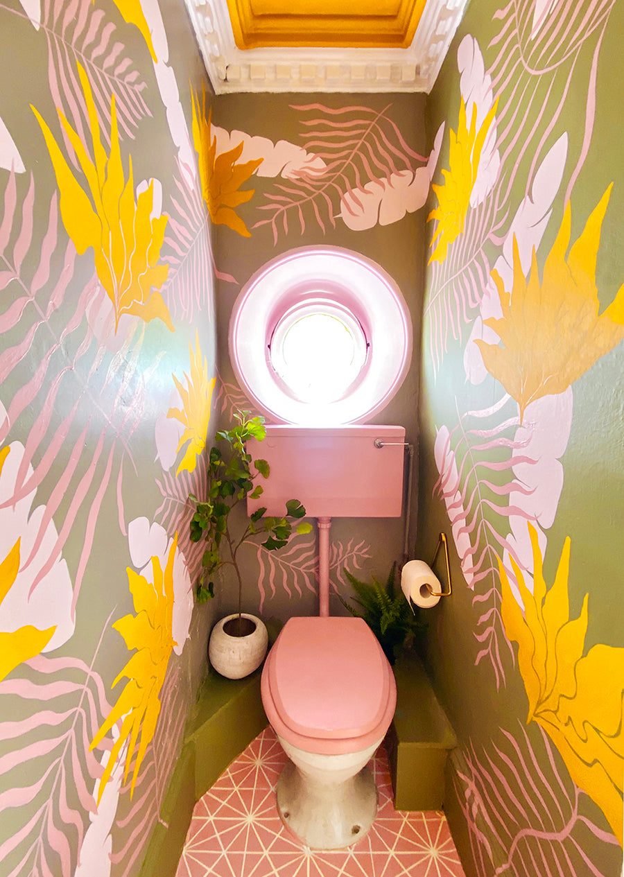 Tropical Leaves in Mustard and Pink<Br>wallpaper