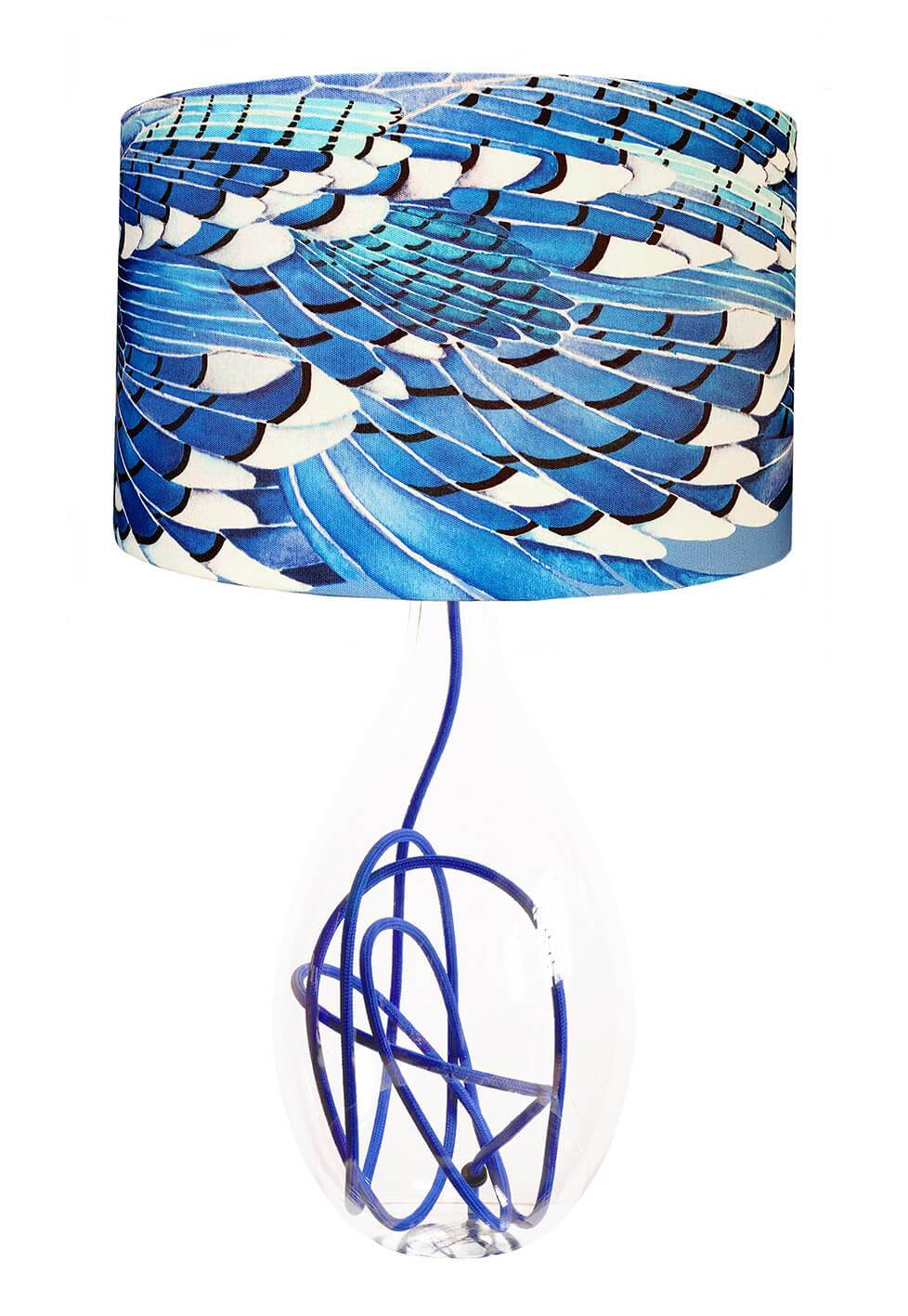 Blue Jay Wing lamp on Jade flex by Anna Jacobs