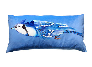 Blue Jay velvet bolster by Anna Jacobs