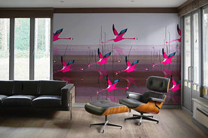 Breaking dawn in Pink mural by Anna Jacobs, hung as repeat wallpaper in a modern apartment