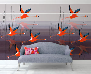 Breaking Dawn in Orange mural wallpaper by Anna Jacobs, lifestyle image with picture rail