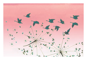Green geese and seed heads flying across pink dusk sky - print by Anna Jacobs