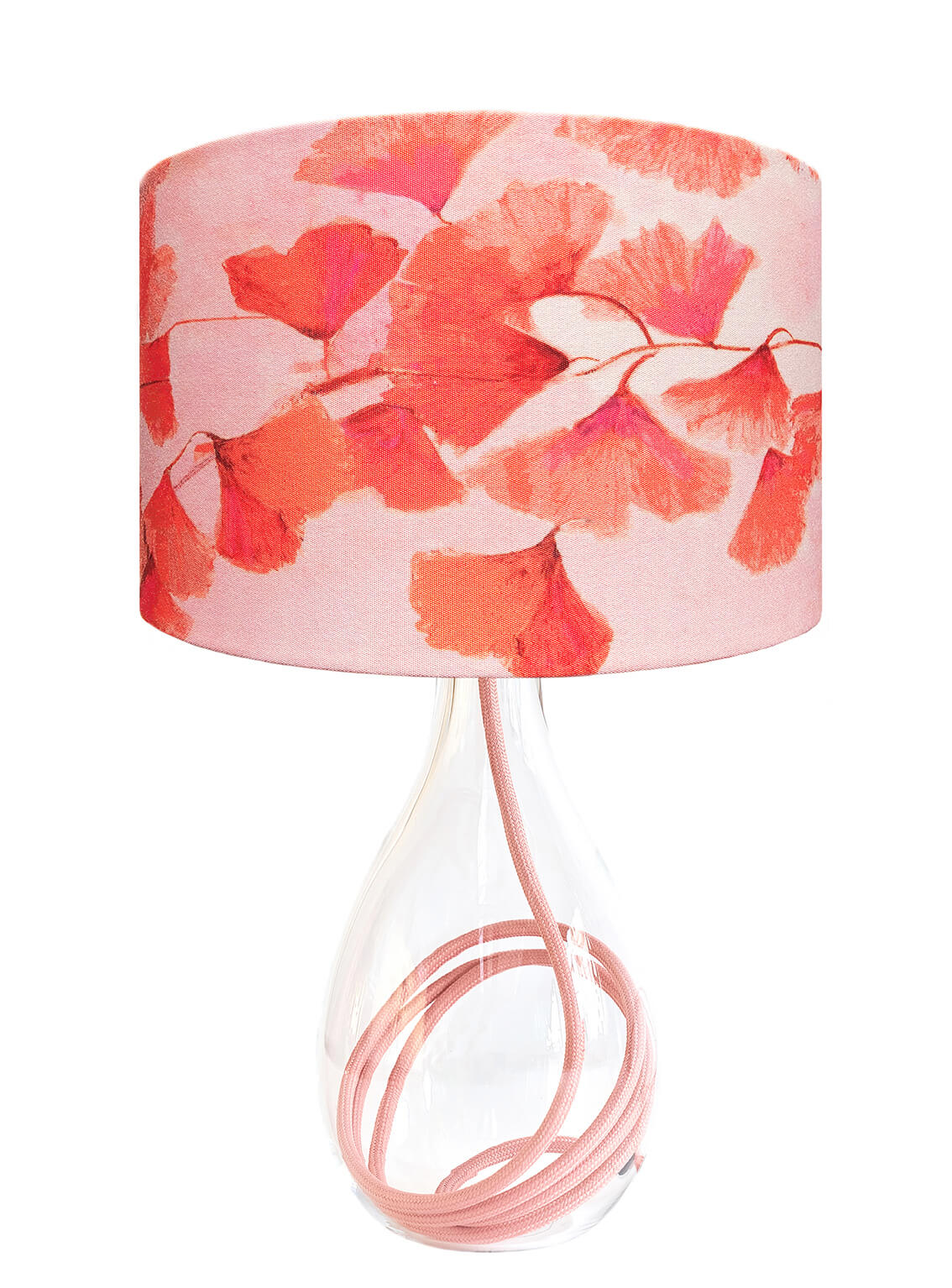 Ginkgo in Coral medium lamp