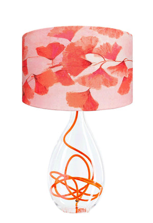 Ginkgo in Coral lamp on Clementine orange flex glass lamp base designed by Anna Jacobs