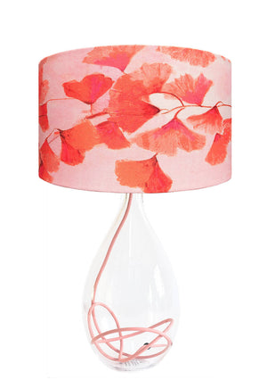 Ginkgo in Coral lamp on Rose flex glass lamp base designed by Anna Jacobs