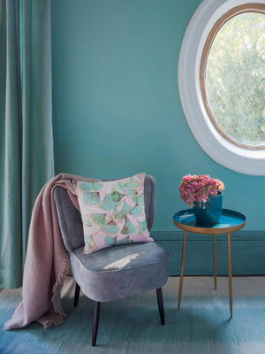 Ginkgo in Jade velvet cushion, designed by Anna Jacobs, in a lifestyle setting